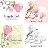 Magnolia and bird design card Stock Images