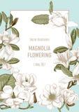 Magnolia Blommor kortet blommar hälsning bostonian blommas trees royaltyfri illustrationer