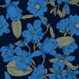 Magnolia Blommor Vektorillustrationen i tappning utformar kortet blommar hälsning bostonian blommas trees stock illustrationer