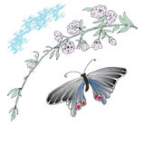 Magnolia and butterfly Hand drawn sketched  illustration. Flower Doodle Flourish graphic with ornate pattern Stock Photos