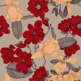 magnolia Fiori Priorità bassa senza giunte di vettore Cartolina d'auguri con i fiori botanica Alberi di fioritura illustrazione vettoriale