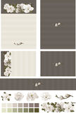 Magnolia floral swag on contrasting ecru charcoal wedding invitation set. Includes front and back designs with bleed area. Pocket card invitation, response Royalty Free Stock Images