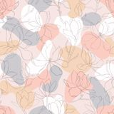Magnolia.Floral vector background in line style. Seamless pattern. Branches with flowers of magnolia. Modern trendy graphic design royalty free illustration