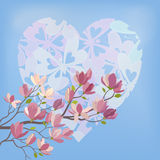 Magnolia Flowers and Valentines Heart. Background for the Valentines Day Holiday, Spring Magnolia tree Branch with Flowers Against The Blue Sky and the Heart of Royalty Free Stock Images