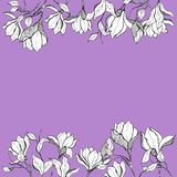 Magnolia frame skecth with ink hand drawn flower stock illustration