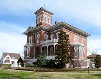 Magnolia Manor. This is a Spring picture of Magnolia ManoeR a postbellum manor located in Cairo, Illinois. The house is an example of the Victorian Italianate stock photos