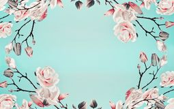 Magnolia pink blossom flowers frame at light blue turquoise background. Floral border. Pattern of branch with flowers. Spring royalty free stock image