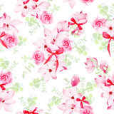 Magnolia and rose blossom with red bows seamless vector pattern Royalty Free Stock Photography
