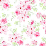 Magnolia and rose blossom seamless vector pattern Stock Images