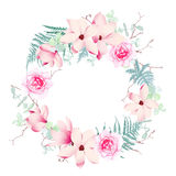 Magnolia, roses and fern wedding wreath vector frame. Stock Photos