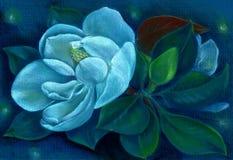 Magnolia Rysunkowy pastel Kwiaty na drzewie wally 3d wysokiego ilustracyjnego postanowienia drzewny tulipanowy biel ilustracji
