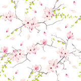 Magnolia spring trees seamless vector print Stock Image