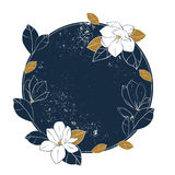 Magnolia vector round frame. Vintage hand drawn illustration with magnolia flowers,buds and leaves on shabby deep blue background. vector illustration