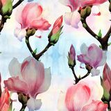 Magnolia. Watercolor. Seamless pattern. Branches are flowering. Wallpaper. stock images