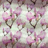 Magnolia. Watercolor. Seamless pattern. Branches are flowering. Wallpaper. stock image