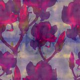 Magnolia. Watercolor. Seamless pattern. Branches are flowering. Wallpaper. stock photo