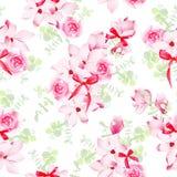 Magnolia y flor color de rosa con el modelo inconsútil del vector de los arcos del rojo Fotografía de archivo libre de regalías