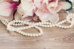Magnolian blommar med pärlor Royaltyfria Bilder