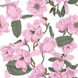 magnolias Bloemen Vector naadloze achtergrond met bloemen plantkunde De lente Bloeiende bomen Plantaardig patroon Tuin vector illustratie