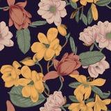 magnolias Flores Fundo sem emenda do vetor com flores botany Mola Árvores de florescência Teste padrão vegetal Jardim ilustração stock