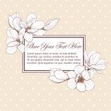 Magnoliowa żółta kartka prostokąta rama Zdjęcie Royalty Free