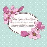 Magnoliowa błękit karty owalu rama Zdjęcie Stock