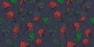 Magnoliowa czerwona kwiat tkanina z atramentu ręka rysującym bezszwowym wzorem royalty ilustracja