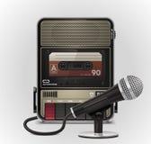 Magnétophone à cassettes de vecteur avec le graphisme du microphone XXL Image stock