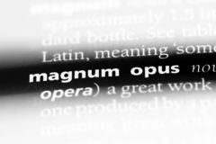 Magnum opus. Word in a dictionary.  concept stock images