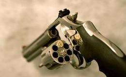 Magnum revolver. Loaded with only one shot Royalty Free Stock Photo
