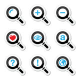 Magnyfying glass, search icons set Stock Photos