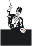 Mago con truco de tarjeta Imágenes de archivo libres de regalías
