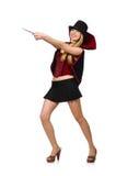 Mago della donna con la bacchetta magica Immagini Stock