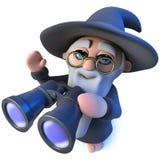 mago divertido del mago de la historieta 3d que usa un par de prismáticos ilustración del vector