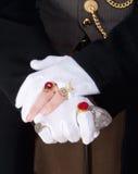 Mago Hands con los guantes y los anillos Imagen de archivo libre de regalías