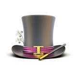 Mago nero del cilindro con una bacchetta magica su un fondo bianco Immagini Stock Libere da Diritti