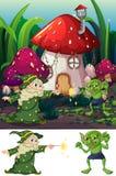 Mago y duende en naturaleza stock de ilustración