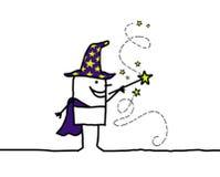 Mago y varita de la magia stock de ilustración