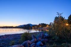 Magog, провинция Квебека, Канады, сентября 2018 Красивый Mag стоковое фото