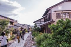 MAGOME, JAPAN - SEPTEMBER 18, 2017: De oude stad of oude buildin Stock Afbeelding
