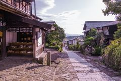MAGOME, JAPAN - SEPTEMBER 18, 2017: De oude stad of oude buildin Stock Foto's