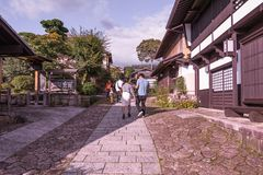MAGOME, JAPAN - SEPTEMBER 18, 2017: De oude stad of oude buildin Royalty-vrije Stock Afbeelding