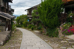Magome postal town street. Historic Magome postal town block pavement street with historic traditional wooden building in Japanese architectural style, Kiso Royalty Free Stock Photography