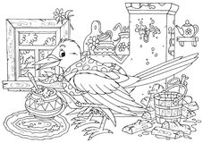 Magpie cooks porridge. Black-and-white outlined illustration of a magpie that cooks porridge in her rustic home Royalty Free Stock Photos