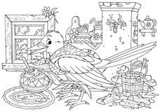 Magpie cooks porridge Royalty Free Stock Photos