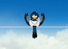 Magpie with diamond ring on wire. Illustration of magpie with diamond on wire Royalty Free Stock Photography