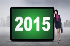 Magra degli impiegati a bordo con i numeri 2015 Immagine Stock Libera da Diritti
