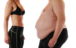 Magro e gordo Imagens de Stock Royalty Free