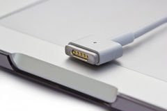 Magsafe power ports of laptop computer Stock Photo