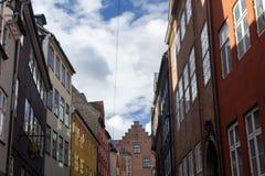 Magstraede的五颜六色的房子,Copenhague 图库摄影